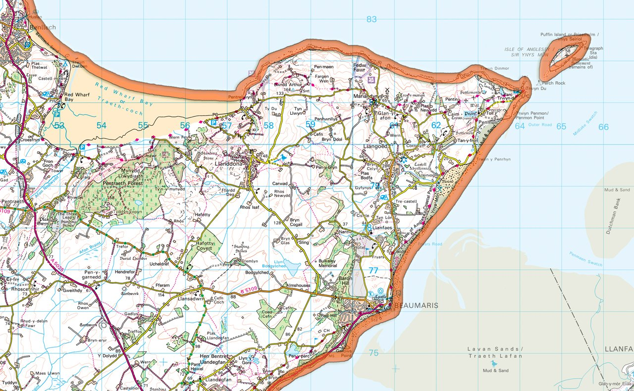 Isle of Anglesey UK County Map 100 x 125 cm