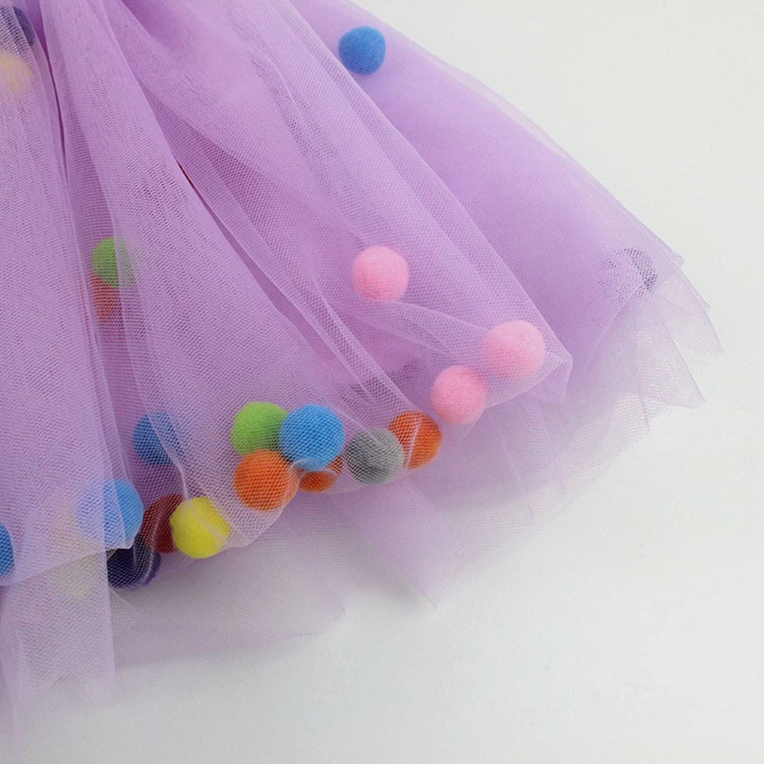 De feuilles Kids Little Girls Layered Tutu Skirt Ballet Dance Party Dress Ruffle Tiered Small Balls