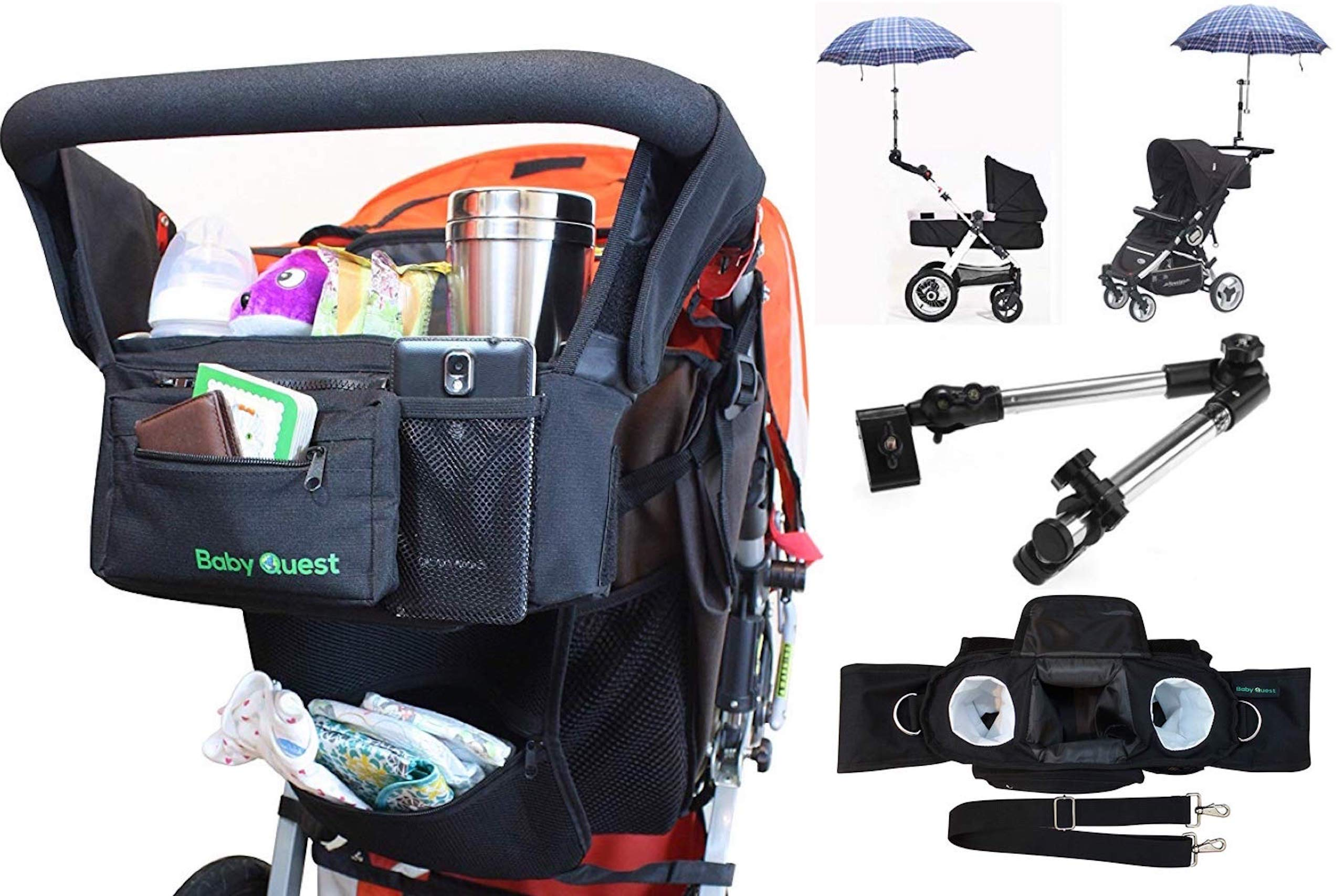 Best Universal/Double Stroller Organizer Bag with Cup Holders - Bonus Stroller Umbrella Attachment Clamp Accessory - Large Storage mesh Pouch for Small Diaper and Baby Accessories