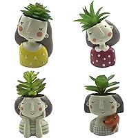 4 PCS Set Cute Girls Shaped Succulent Cactus Flower Pot/Plant Pots/Planter/Container for Home Garden Office Desktop…