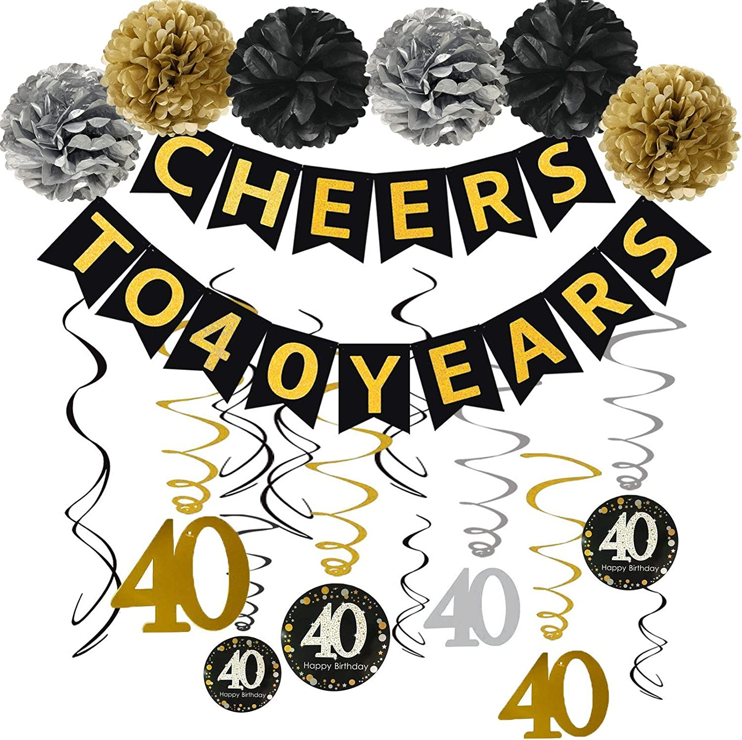 Famoby Gold Glittery Cheers to 40 Years Banner with Pom Poms 40th Sparkling Hanging Streamers for 40th Birthday Decorations 40th Birthday Party Decorations Supplies