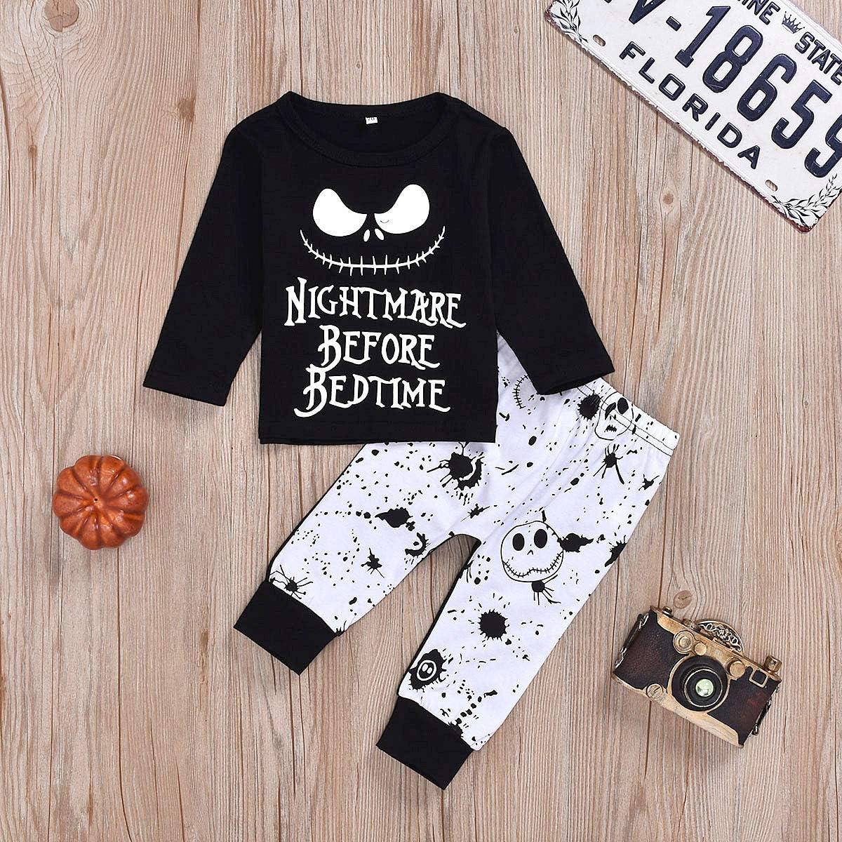 DaceStar Newborn Baby Boys Pajamas 0-3T Clothes 2PCs Outfits Nightmare Printing Long Sleeve Skull Pants Set