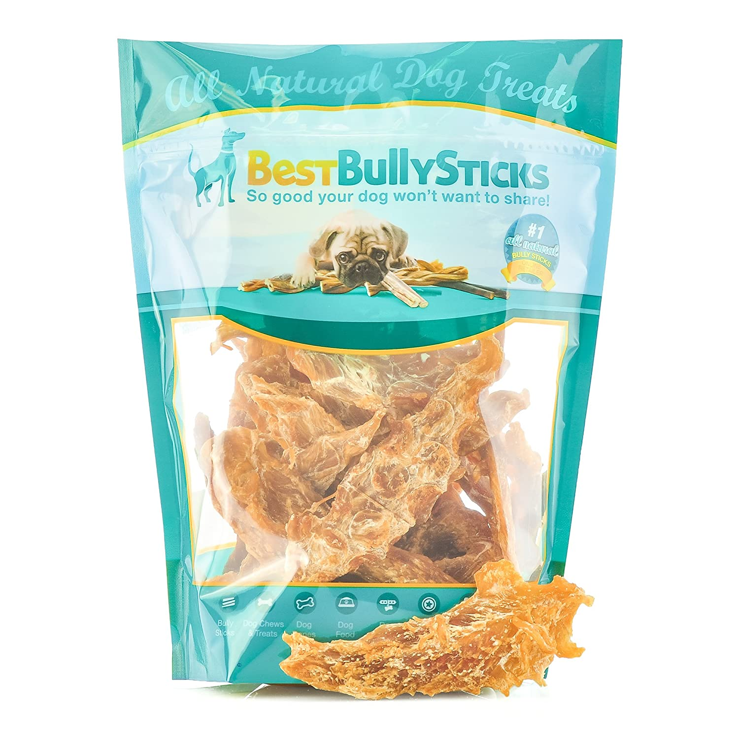 Best Bully Sticks Premium Slow-Cooked Whole Muscle Chicken Jerky Dog Treats, 8oz. Bag 81OTag7zJKL