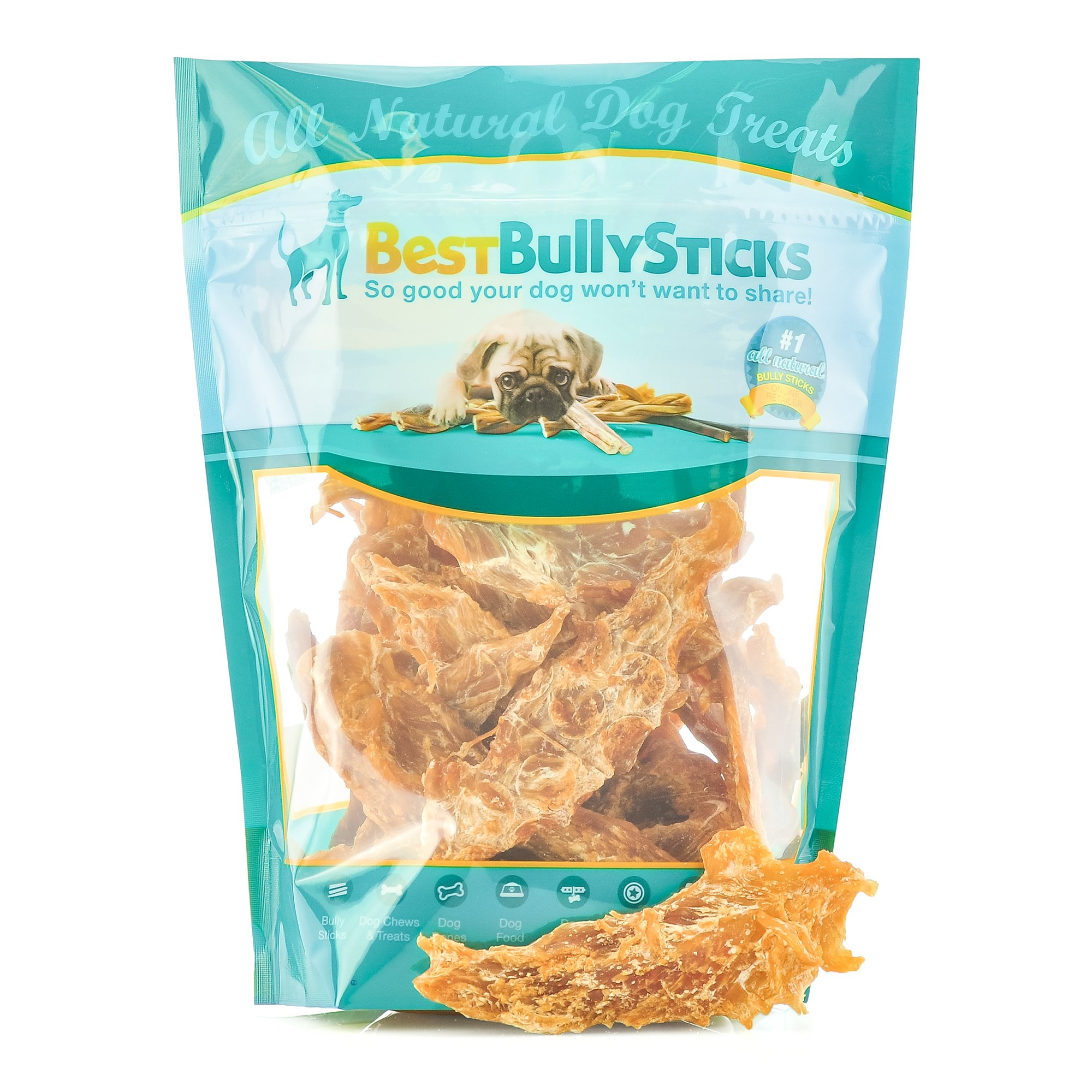 Best Bully Sticks Premium Chicken Jerky Dog Treats, All-Natural Slow-Cooked Whole Muscle Dog Treats, 8oz. Bag