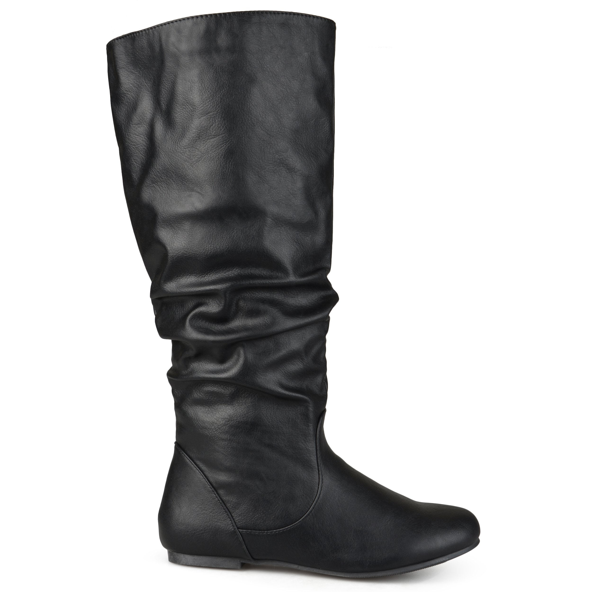Brinley Co Womens Extra Wide-Calf Mid-Calf Slouch Riding Boots Black, 9.5 Extra Wide Calf US