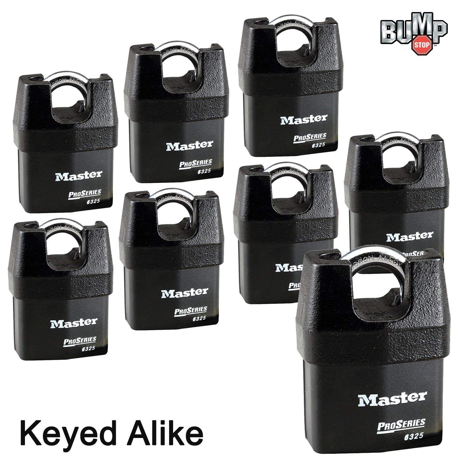 Master Lock Pro Series Padlock - (8) High Security Locks 6325NKA-8 w/BumpStop Technology