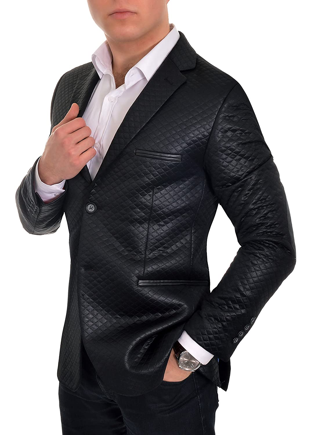 Mens Stylish Quilted Blazer Jacket Casual Formal Plain Black Leather Finishings