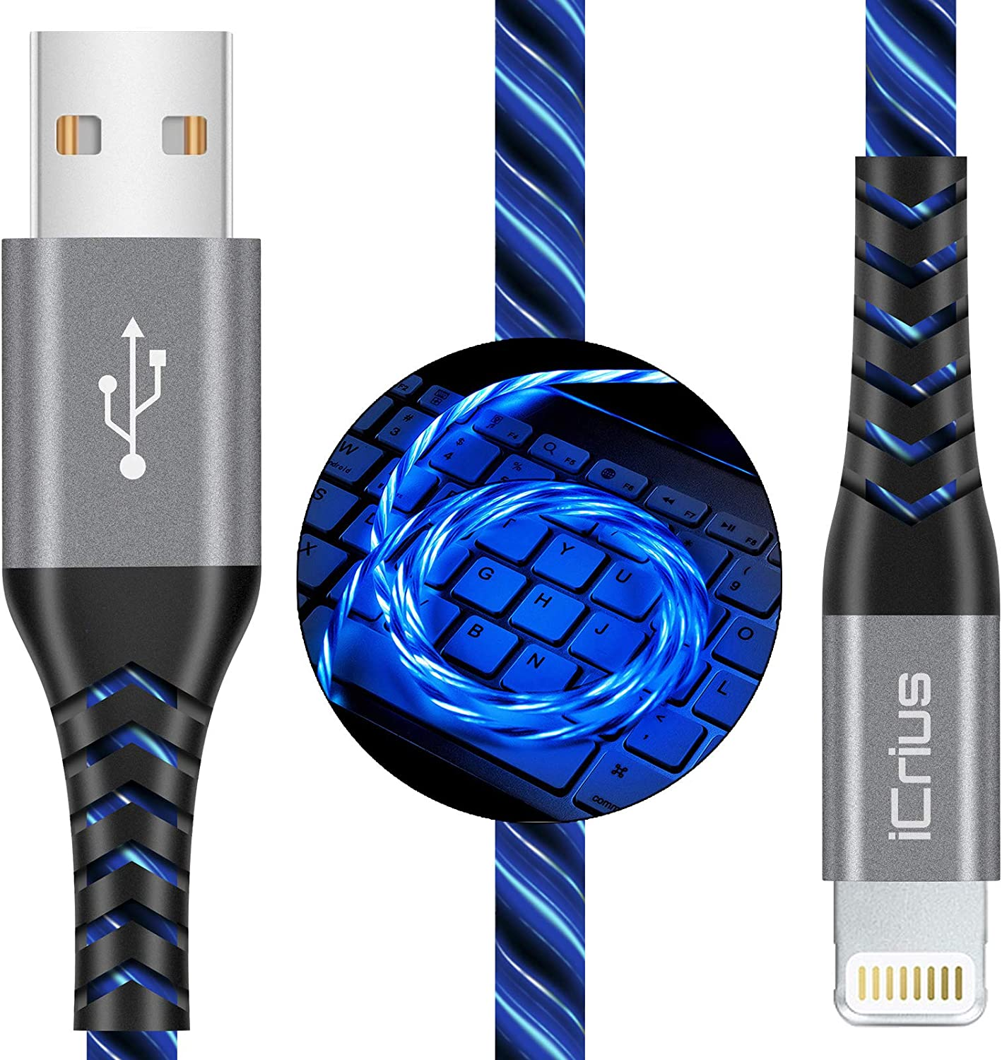 iPhone Charger, iCrius Apple MFi Certified 6FT Lightning Cable Led Light Up USB Fast Charging Cord Compatible with iPhone SE/ 11/Pro/Max/X/XS/XR/XS Max/8/Plus/7/7 Plus/6/6S/6 Plus, iPod Touch (Blue)
