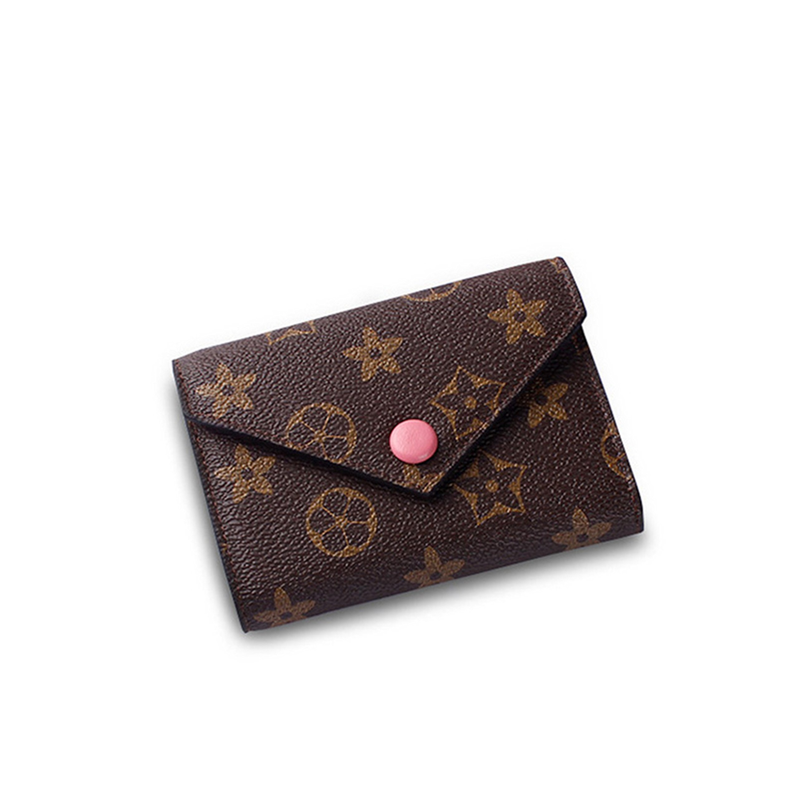 SUNNY Famous Brand Womens Monogram Canvas Wallet on Sale Mini Credit Card Case Flower Designer Purse Card Holder (pink)