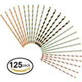 125 PCS Paper Straws JIANFA-Food Grade Rose Gold Foil striped pattern Paper Straw Biodegradable Straw for Birthdays,Christmas, Weddings, Baby Showers, Celebrations and Parties