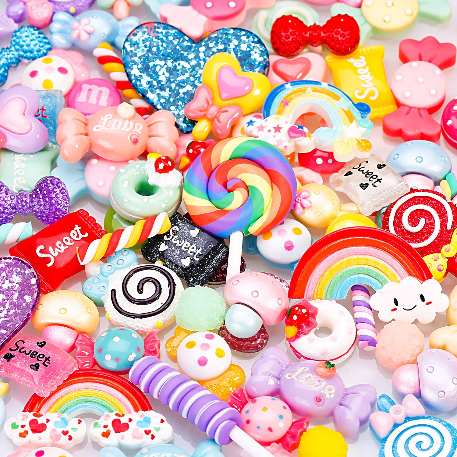 100Pcs Charms For Slime Assorted Fruits Candy Sweets Flat Slime Charms Cute Set