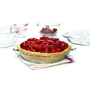Anchor Hocking Oven Basics 5-Piece Glass Bakeware Set with Pie Plates, Measuring Cup, and Mixing Bowls