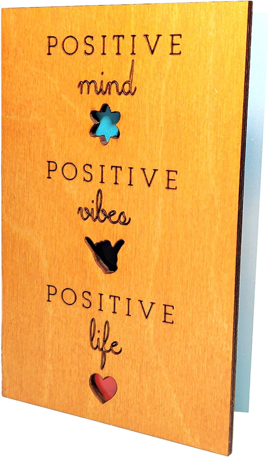Real Wood Positive Life Mind Vibes Inspirational Motivational Quote Greeting Card Birthday Get Well Cheer Up Wooden Gift Retirement Graduation Just Because Wooden Gift Him Her Dad Grandfather Friend e