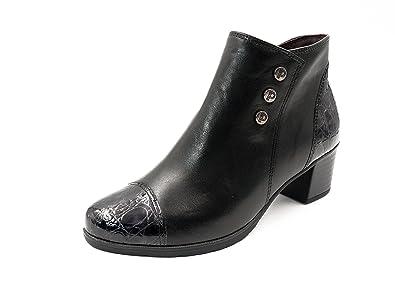 Botines Mujer PITILLOS en Piel Color Negro Combi Coco Charol, Cierre Cremallera, 1249-565: Amazon.es: Zapatos y complementos
