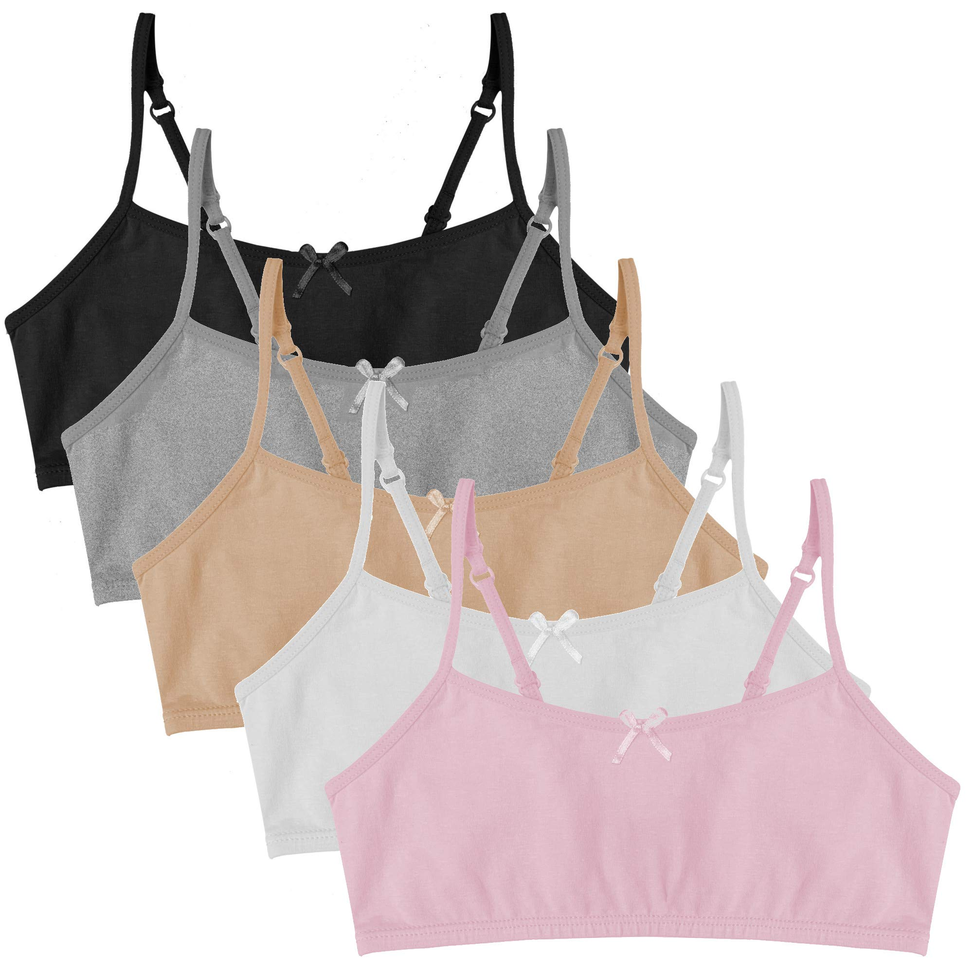 Popular Girl's Cotton Cami Crop Bra with Adjustable Straps - 5 Pack - Neutrals - Large (10/12) by Popular