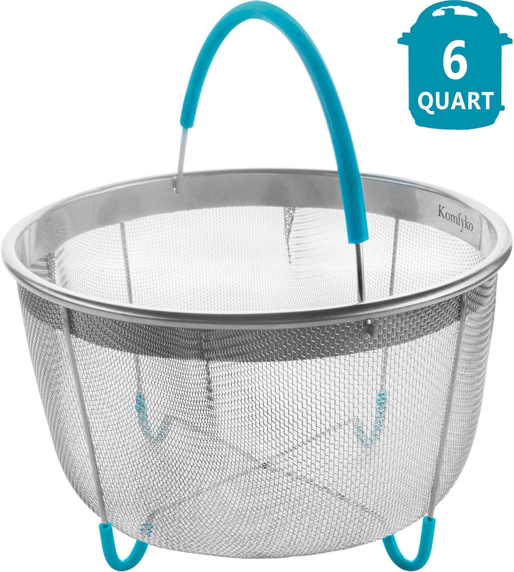 Komfyko Steamer Basket 6 Quart [3qt 8qt Avail]- Compatible with Instant Pot Accessories 6qt and Other Pressure Cooker Brands - IP Stainless Steel Insert with Silicone Handle and Feet for InstaPot