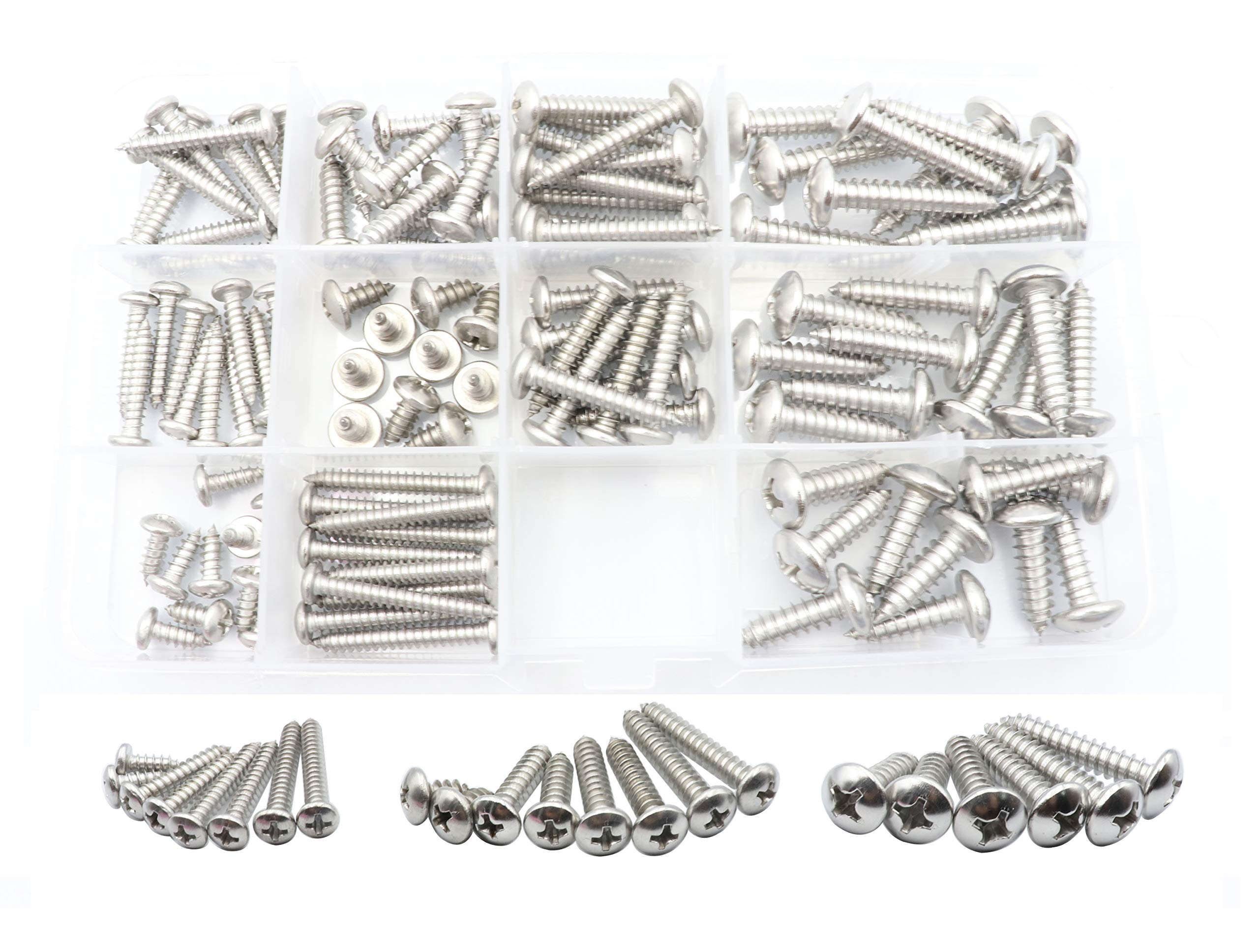 LBY 304 Stainless Steel Cross Recessed Pan Head Tapping Screw Round Head Screw Set 11 Kinds Pack of 110 Pcs