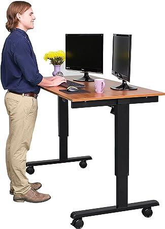 Amazoncom 60 Electric Stand Up Desk Black Frame Teak Top