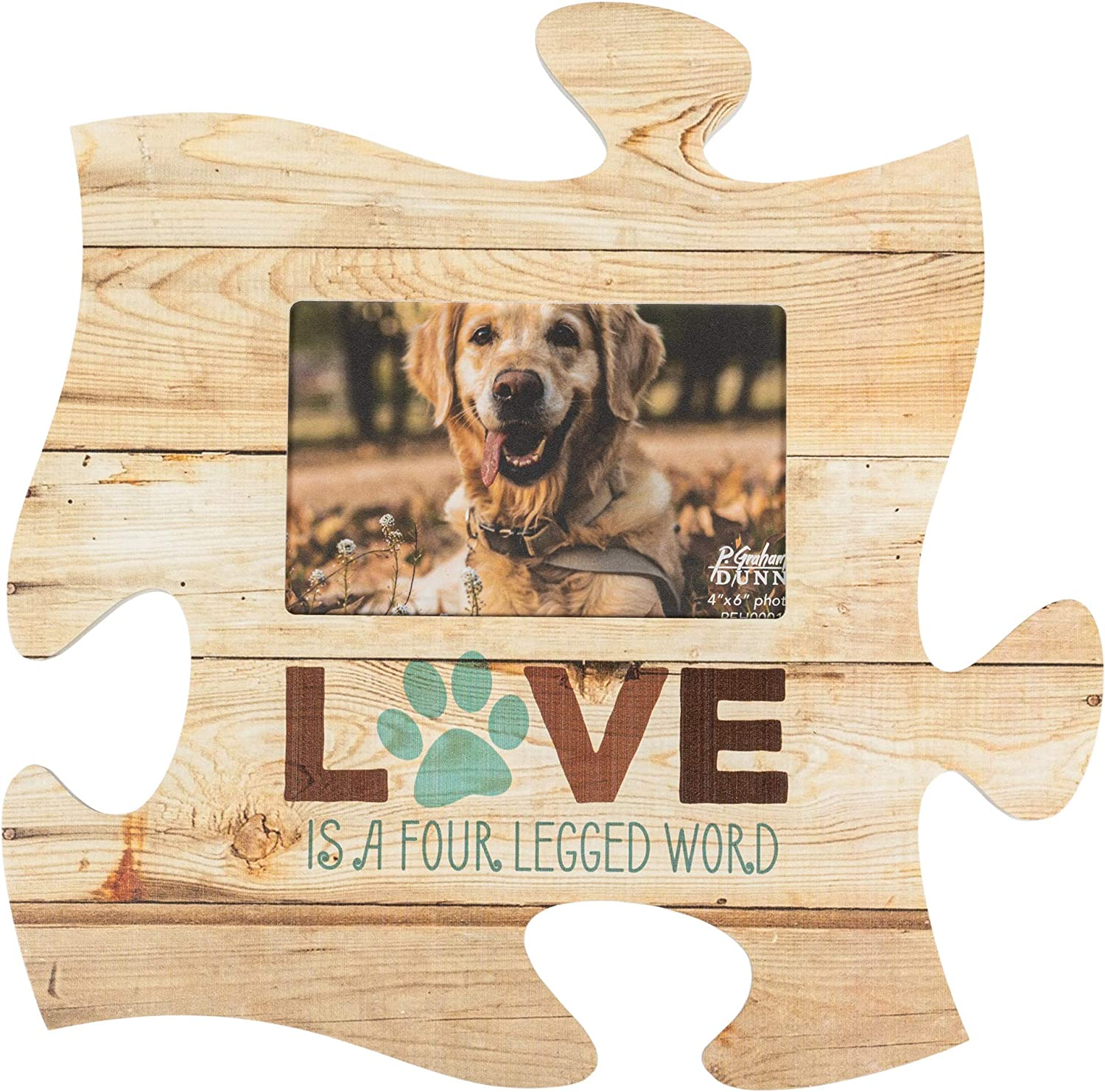 P. Graham Dunn Love is a Four Legged Word 12 x 12 Wood Wall Art Puzzle Piece 4x6 Frame Plaque