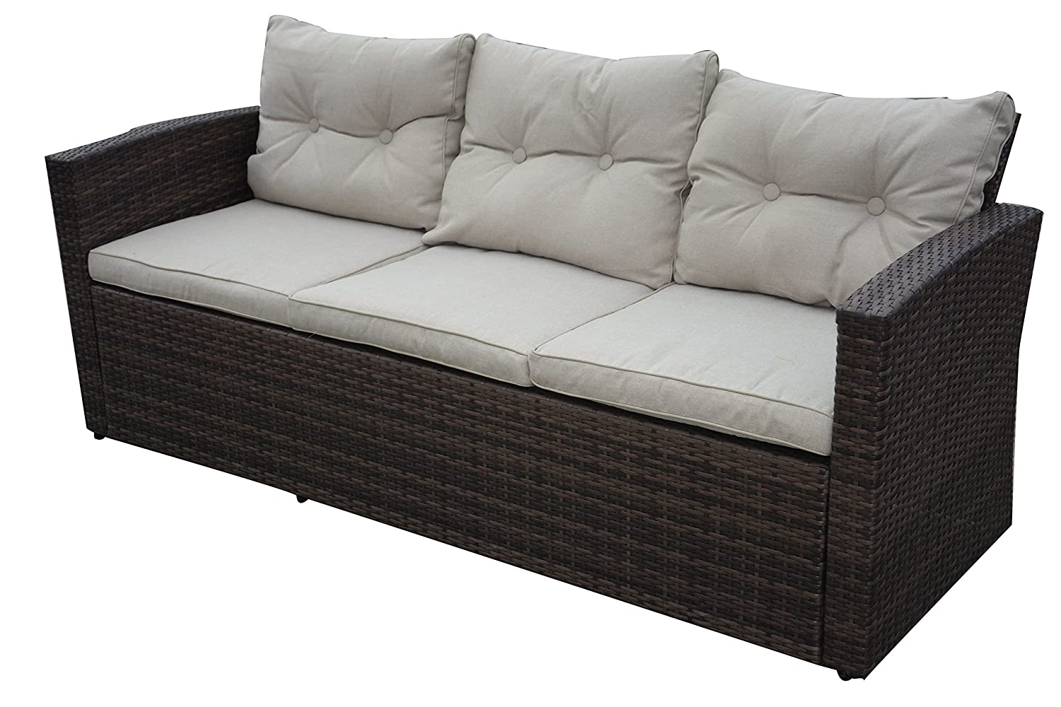 Rio-4 Piece 5 Seat Dark Brown All Weather Wicker Conversation Set with Storage and Tan Color Cushions