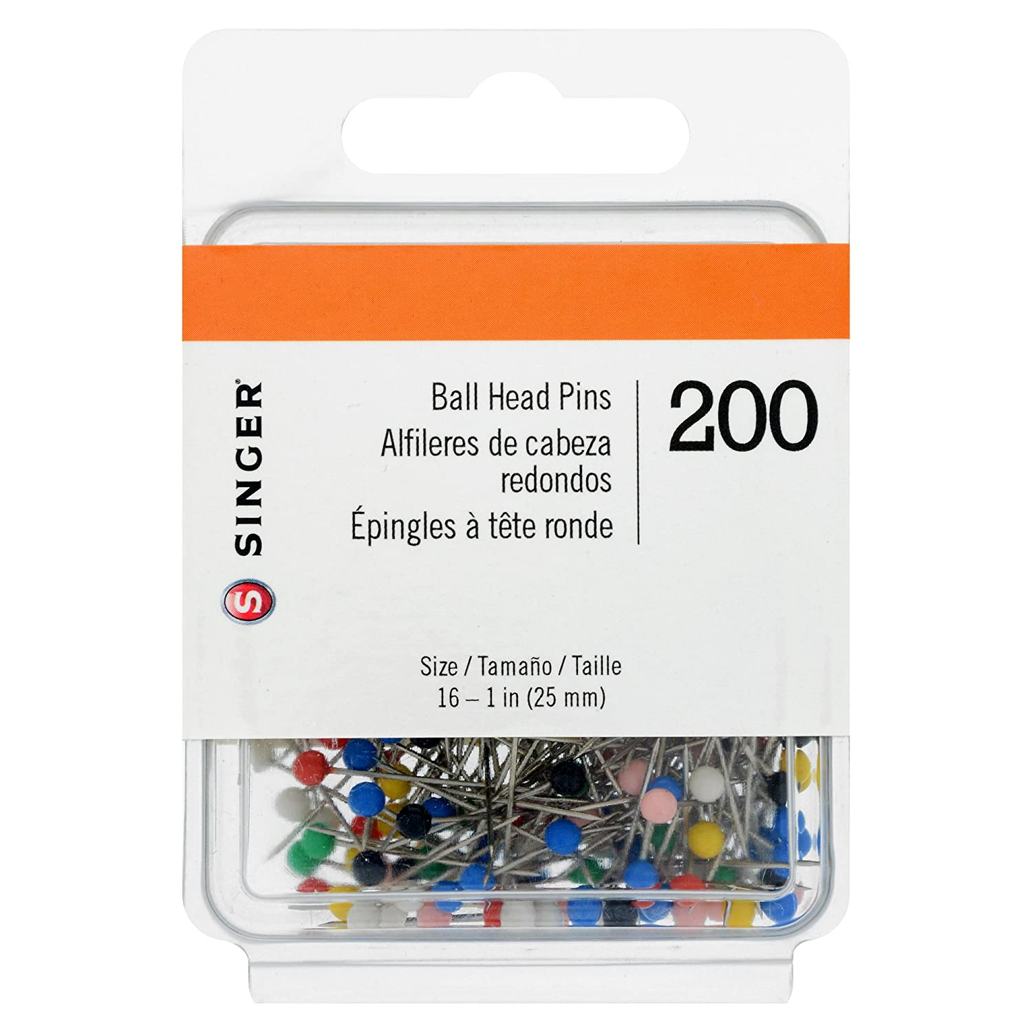 Size 16 SINGER 07040 Ball Head Straight Pins 200-Count