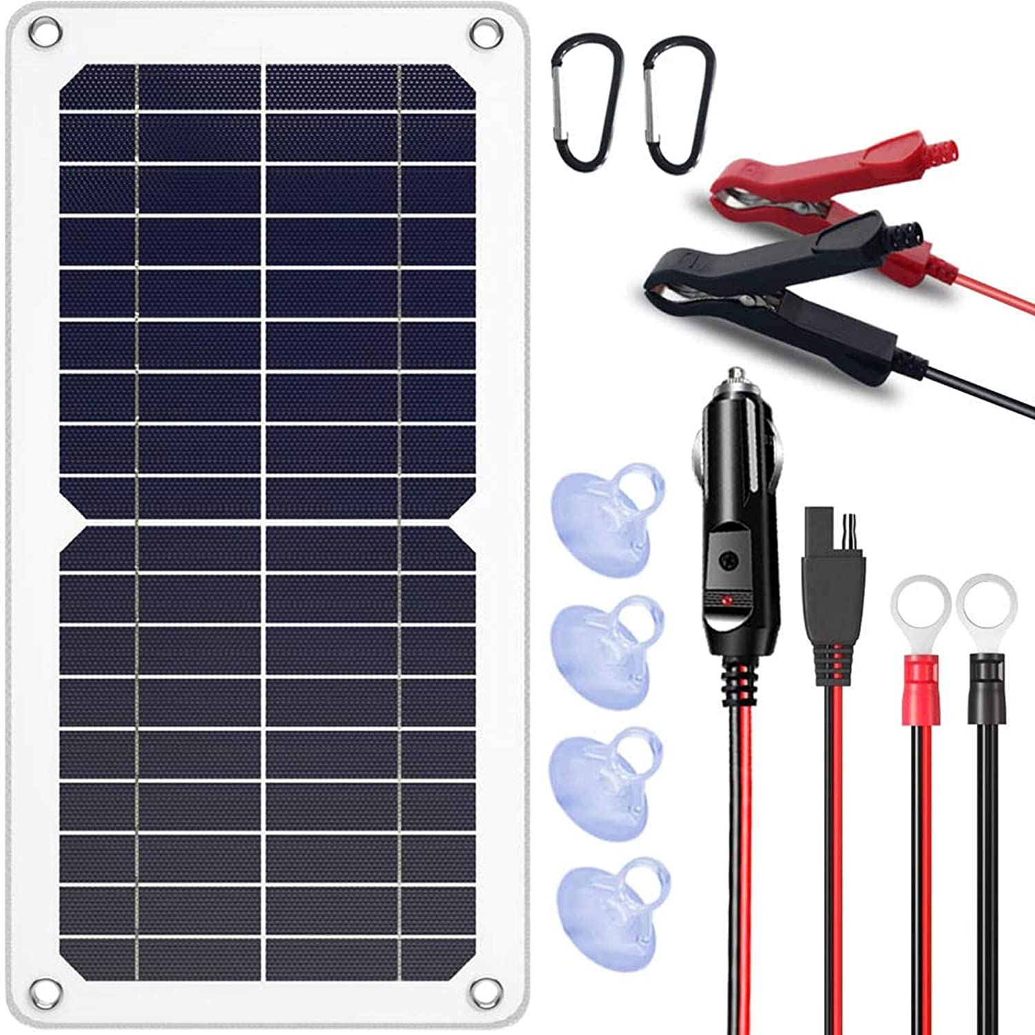 SUNAPEX 10W 12V Portable Solar Battery Charger & Maintainer - Solar Panel-Built - in Intelligent Charge Controller