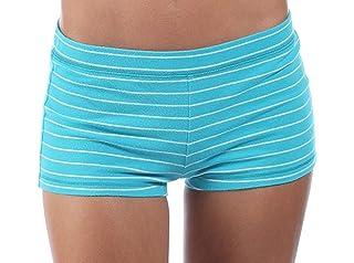 Abercrombie & Fitch - Pantalón corto de yoga para mujer - A rayas - Azul turquesa