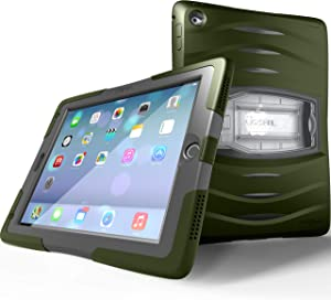 UZBL Case for iPad 9.7 6th Generation / 5th Generation, Shockwave Heavy Duty Rugged Case with Screen Protector and Removable Kickstand, Green