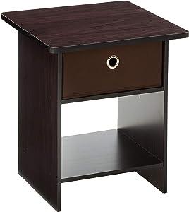 FURINNO Dario End Table/Night Stand Storage Shelf, 1-Pack, Dark Walnut