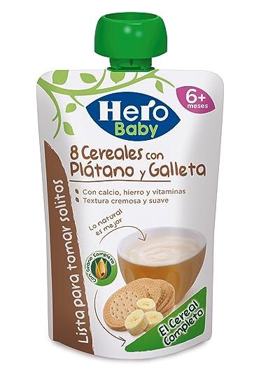 Hero Baby Bolsita 8 cereales con Plátano y Galleta - 100 gr