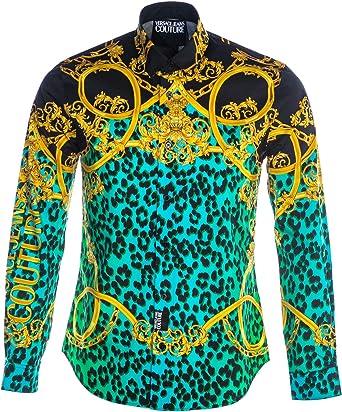 Versace Jeans Couture Camisa de hombre Fantasía B1GVA6S1-VUP201 Print Leo Chain S0673 155 multicolor 54: Amazon.es: Ropa y accesorios