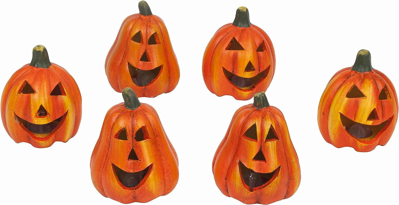 6x Mini Halloween Deko Kurbis Teelichthalter Aus Keramik Mit Led Licht Amazon De Kuche Haushalt