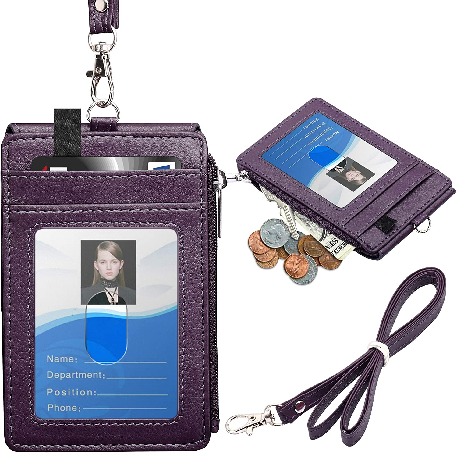ELV Badge Holder with Zipper, PU Leather ID Badge Card Holder Wallet with 5 Card Slots, 1 Side RFID Blocking Pocket and 20 inch Neck Lanyard Strap for Offices ID, School ID, Driver Licence (Purple)
