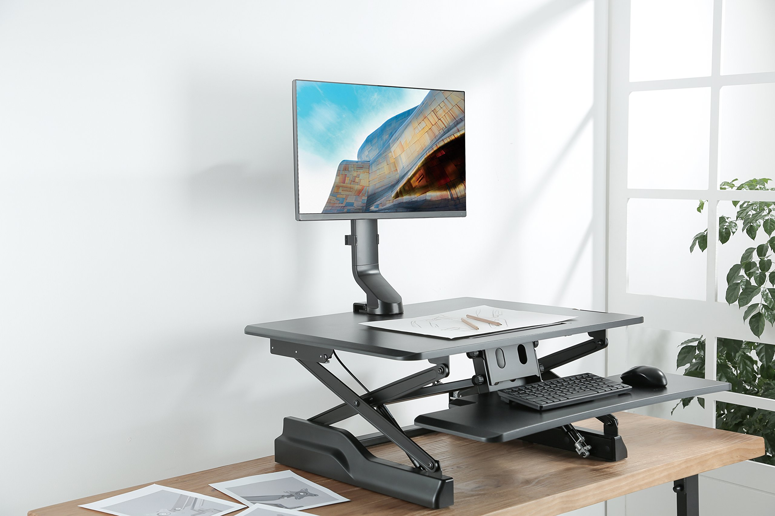 AVLT-Power Single Monitor Mount for Standing Desk Workstation - Extra Height Adjustment Range - Heavy Duty - Holds 17'' to 32'' Screens, up to 17.6 lbs, VESA 75x75mm 100x100mm by AVLT-Power (Image #5)