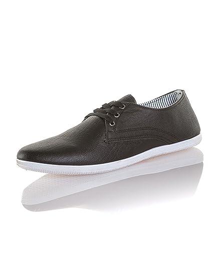 Reservoir Shoes - Chaussure Basse Homme Effet Cuir Noir Semelle Blanche   Amazon.fr  Chaussures et Sacs 0301c19cafd0