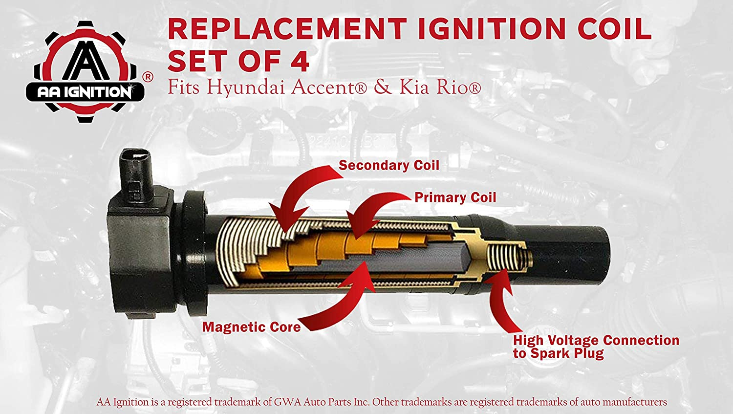 Ignition Coil Pack Set Of 4 Fits Hyundai Accent Kia Rio Replaces 27301 26640 Ignition Coil Pack Fits 2010 Hyundai Accent 2009 Hyundai Accent