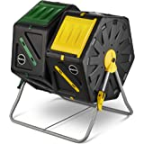 Miracle Gro Dual Chamber Compost Tumbler - Outdoor Bin with Easy-Turn System, 2 Sliding Doors, Sturdy Steel Frame - All Season Composter, BPA-Free + Free Scotts Gardening Gloves (2 X 18.5gal/70L)