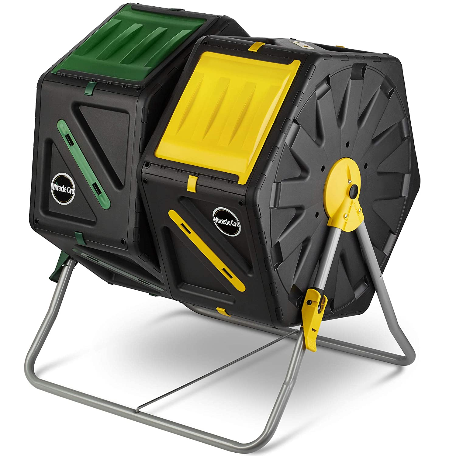 Miracle-Gro Dual Chamber Compost Tumbler in yellow and green color