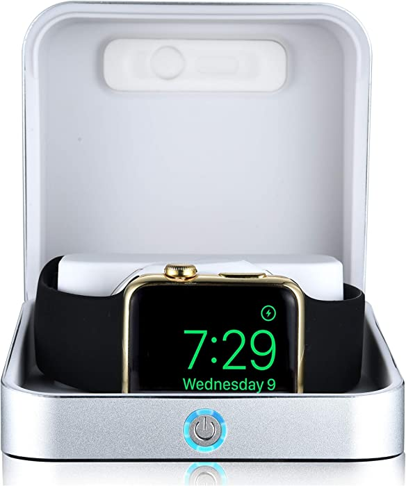 Sumato WatchBox Charging Case for Apple Watch 5 4 3 2 1 [Travel Battery Charger] MFI Certified 5000mAh Power Bank, Charges iWatch & iPhone (Silver)