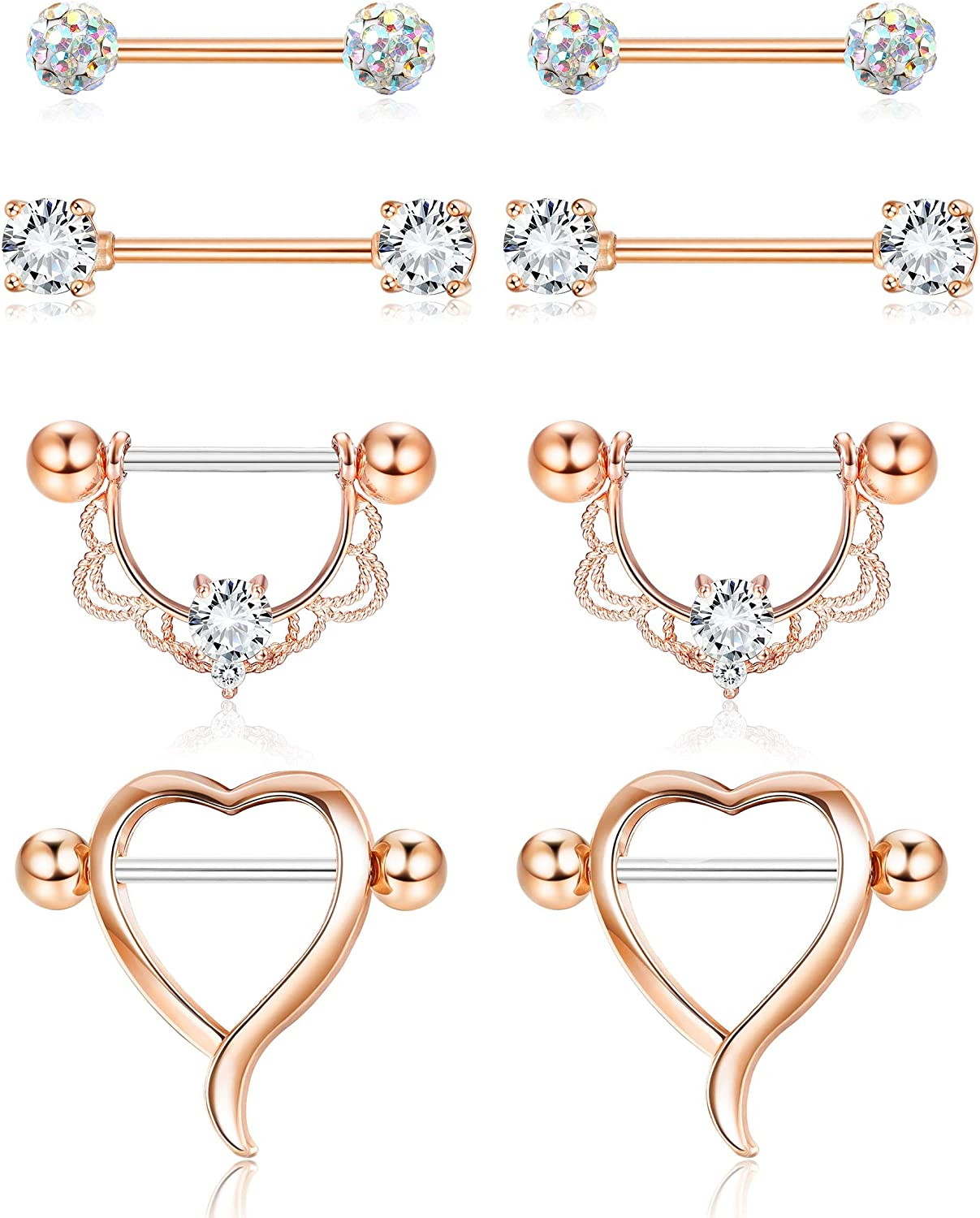 4 Pairs Stainless Steel Nipplerings CZ Opal Nipple Tongue Rings Barbells Body Piercing Jewelry for Women Girls 14G