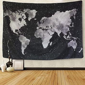 Amkun Carte Du Monde Vintage Tapisserie Murale à Suspendre Mandala Bohemian Tapisserie Carte Murale Rétro Art Tissu Home Decor Serviette De Plage