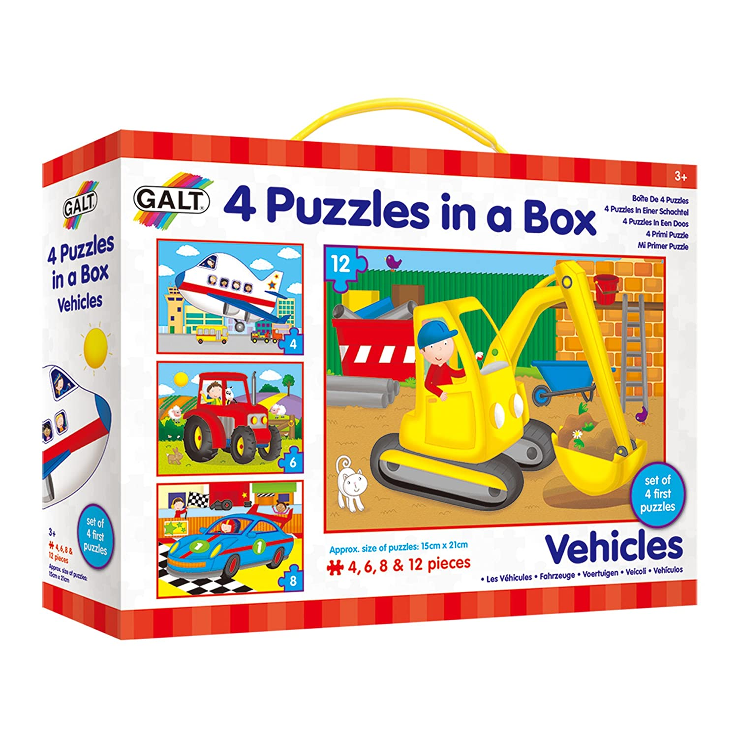 Galt Toys Vehicles 4 Puzzles in a Box 1004009