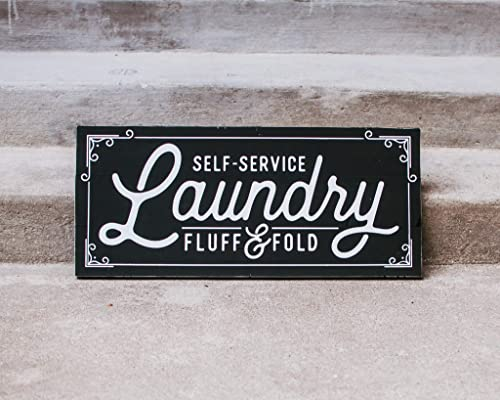Wash Laundry Room Fold in White or Black Repeat Dry Rustic Antiqued Wooden Sign Distressed