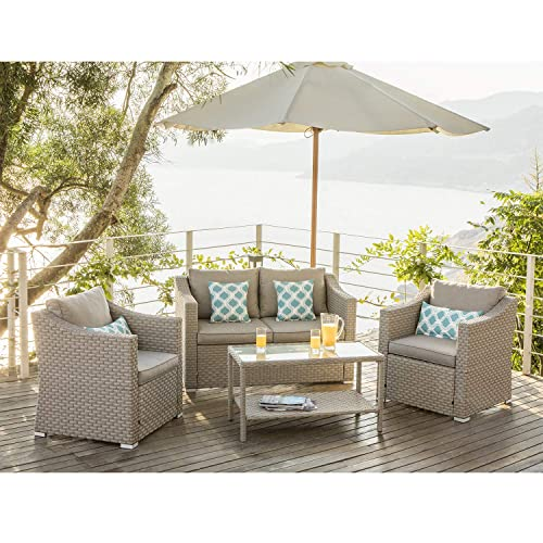 COSIEST 4-Piece Patio Furniture Sectional Sofa All-Weather Outdoor Wicker Conversation Set w Warm Gray Cushion