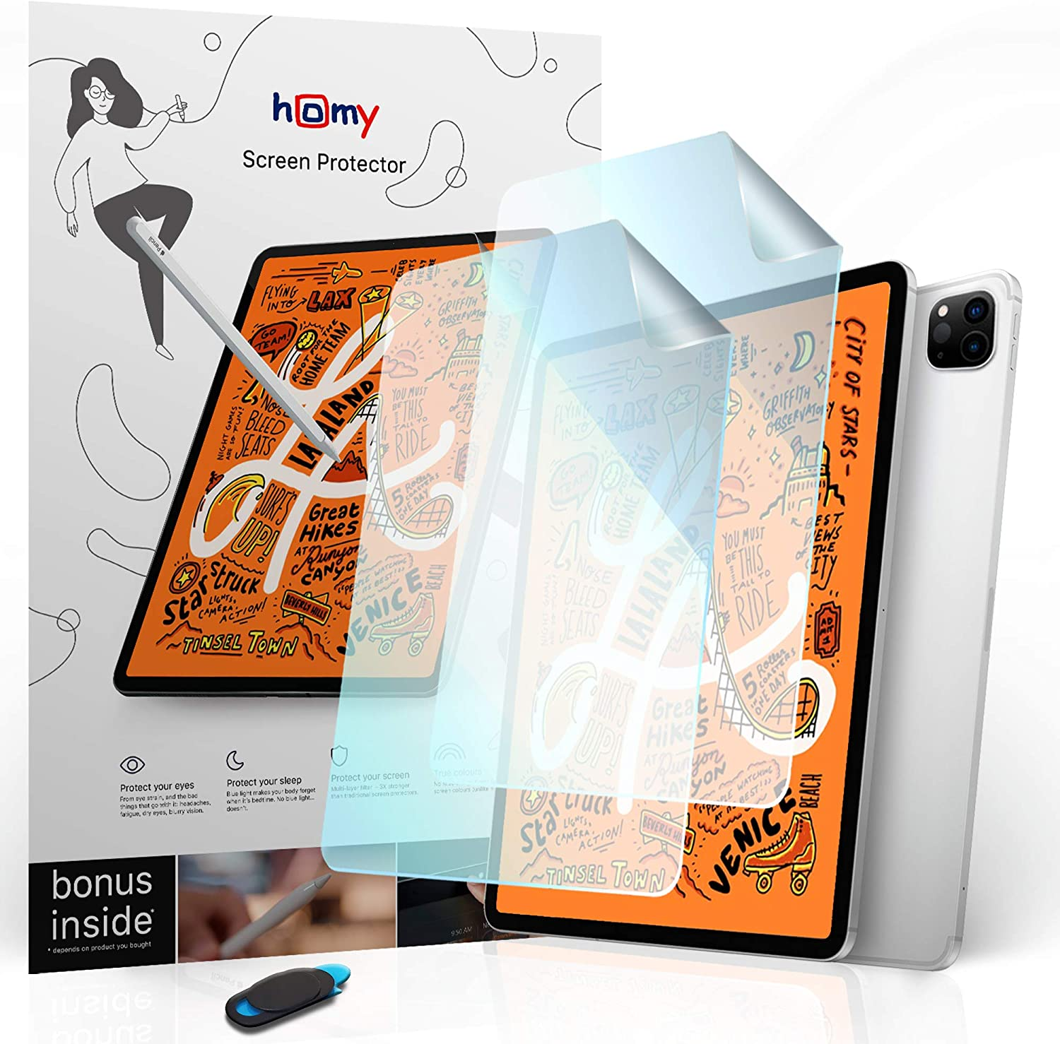 Homy Paperfeel Screen Protector [2-Pack] for iPad 10.9 Air, 11 Pro. Anti-Blue Light (Eye Care) Protection. Anti-Glare Matte Surface for Drawing, Great Sensitivity. Scratch Proof. Bonus: WebCam Cover