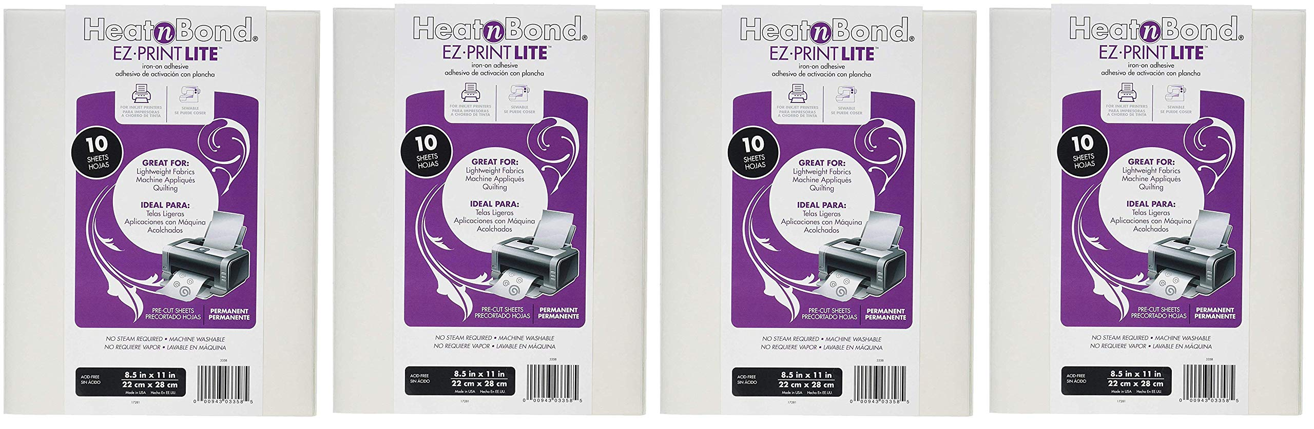 Thermo Web 3358 Heat and Bond EZ-Print Lite Iron-On Adhesive, 8-1/2 by 11-Inch, White, 10-Pack (Fоur Paсk)