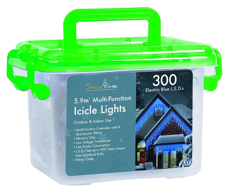 300 Electric Blue Snowfall Effect L.E.D. Icicle Lights: Amazon.co.uk ...