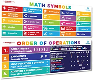 Sproutbrite Math Posters PEMDAS Order of Operations Symbols Mathematics Classroom Decorations for Teachers - Banners Bulletin Board and Wall Decor for Elementary and Middle School
