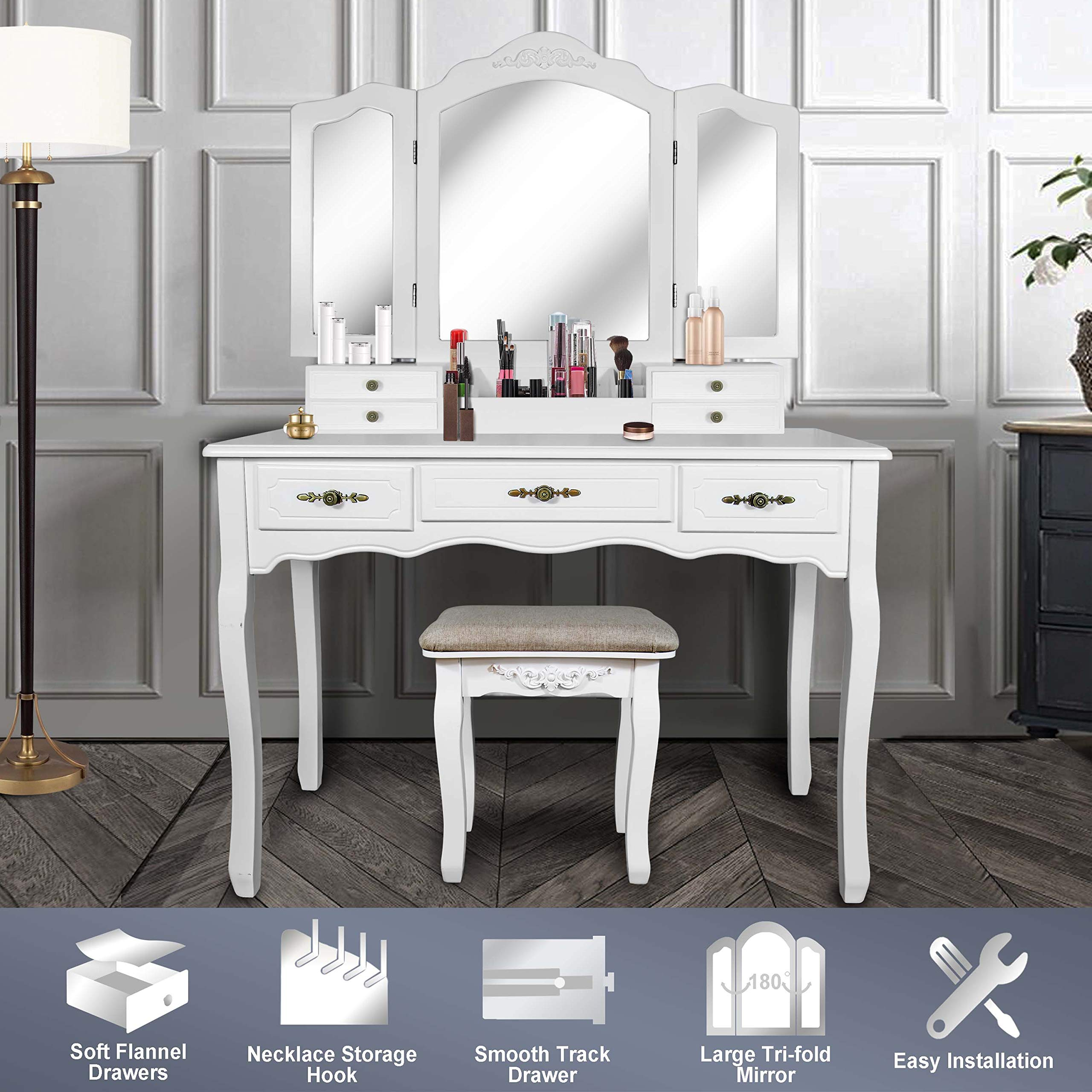 Vanity Beauty Station,Large Tri-Folding Necklace Hooked Mirrors,6 Organization 7 Drawers Makeup Dress Table with Cushioned Stool Set - White by ENSTVER