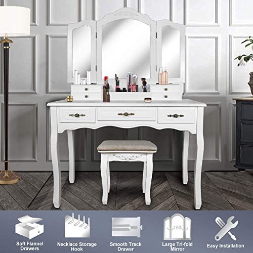 Vanity Beauty Station,Large Tri-Folding Necklace Hooked Mirrors,6 Organization 7 Drawers Makeup Dress Table with Cushioned Stool Set – White
